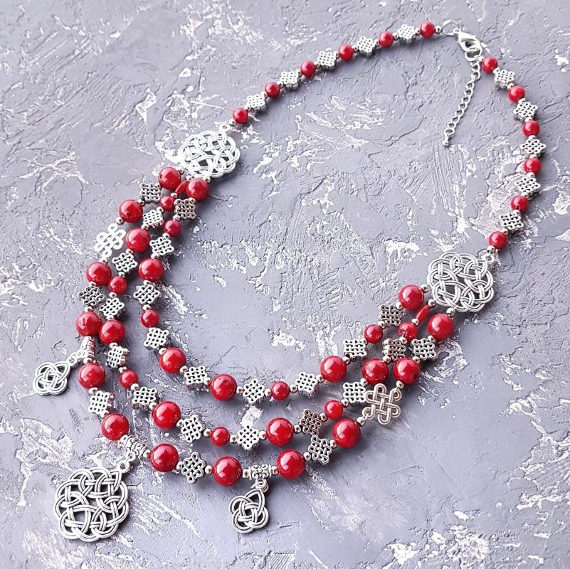 Комплект из натурального коралла колье и серьги Красный натуральные кораллы, мета Гармаш Елена - фото 7