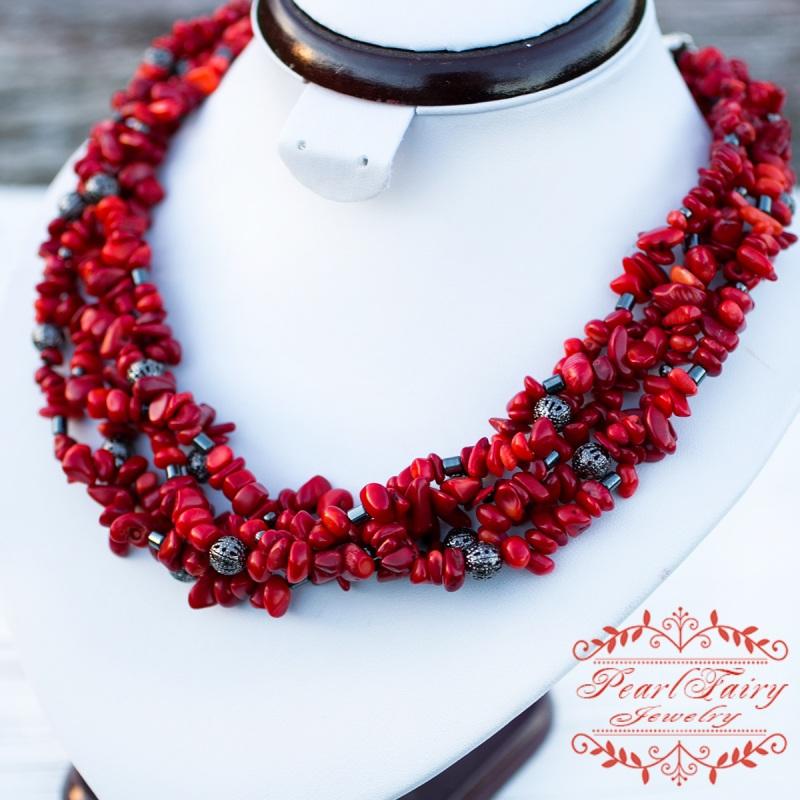 Пятирядное ожерелье из натуральных кораллов и гематита Красный натуральные кораллы, гема Гармаш Елена - фото 4