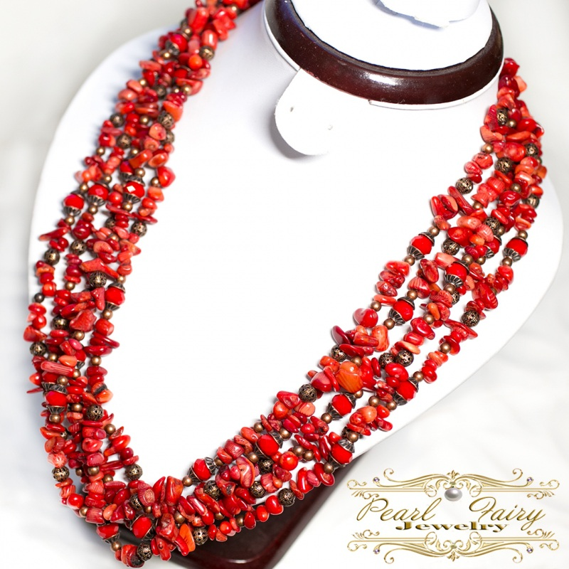 Длинные бусы из натуральных кораллов пятирядные Красный натуральные кораллы, хрус Гармаш Елена - фото 4