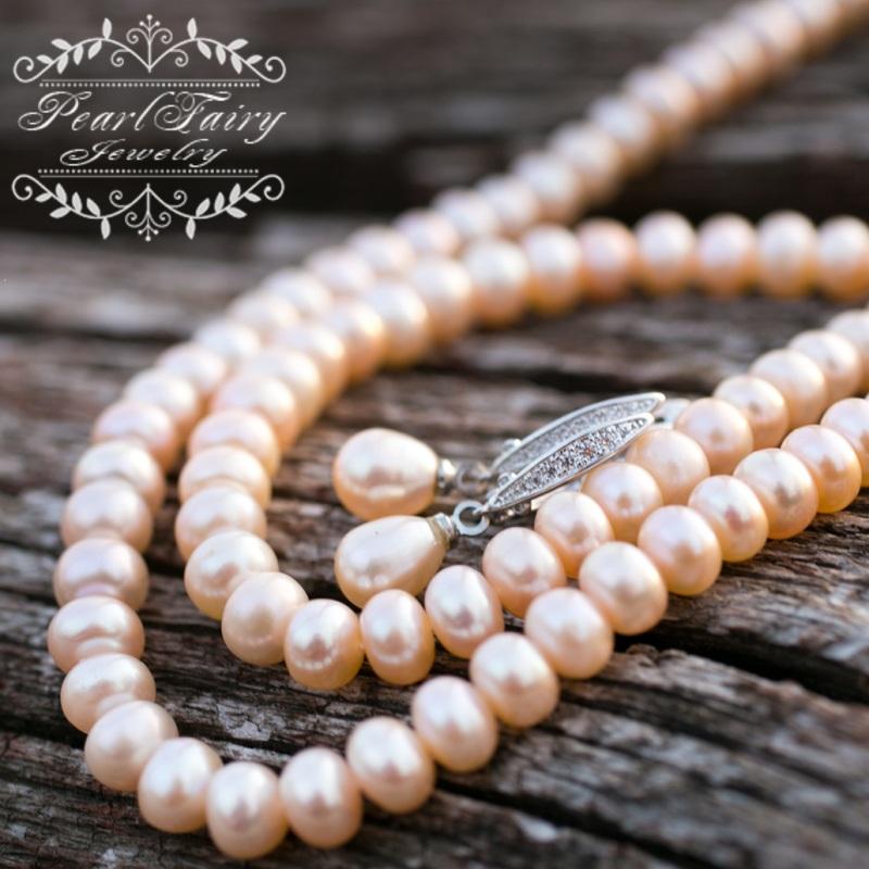 Комплект из натуральных персиковых жемчуга высокого качества Белый натуральные персиковые же Гармаш Елена - фото 5