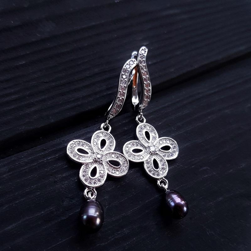 Сережки з натуральними білими чи чорними перлами та кристалами Чорний на вибір колір перлин біл Гармаш Олена - фото 4