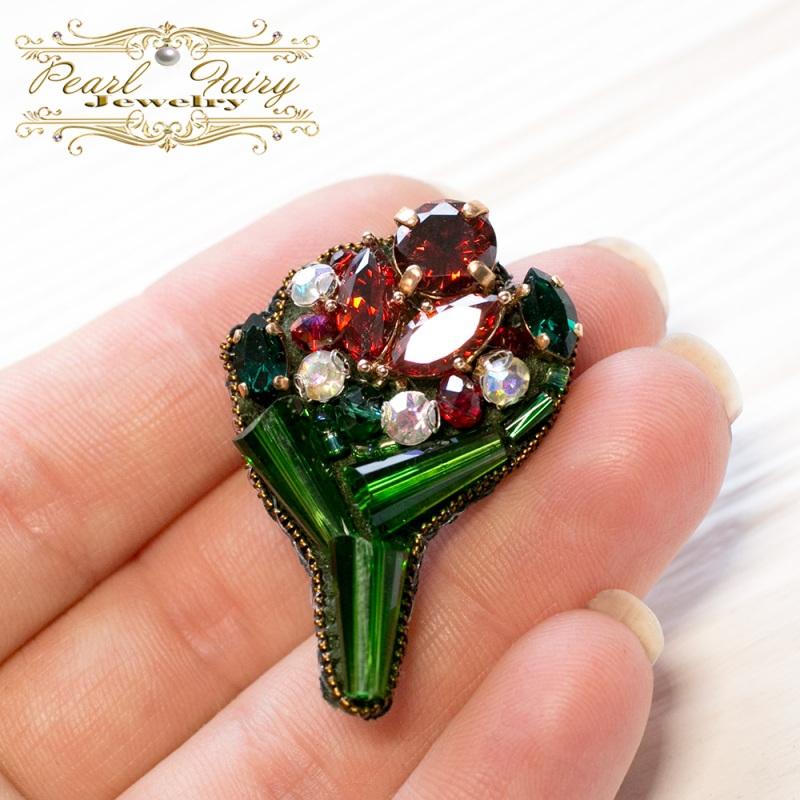 Брошь букет с кристаллами Swarovski и цирконами Зеленый Кристаллы Swarovski, крис Гармаш Елена - фото 2