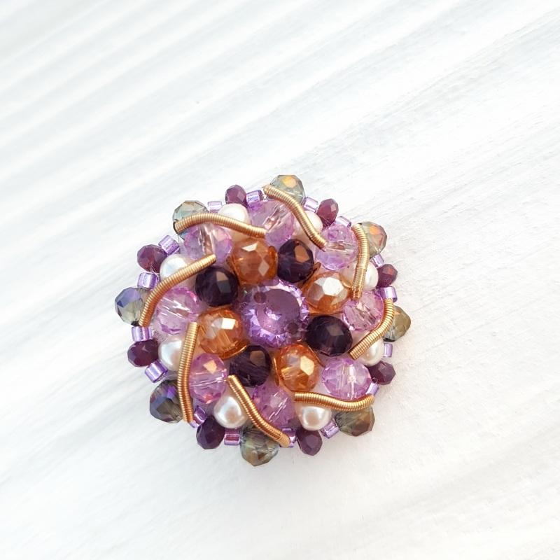 Сет 3 броши с кристаллами Swarovski: цвет на заказ Разноцветный хрустальные бусинки, крис Гармаш Елена - фото 2