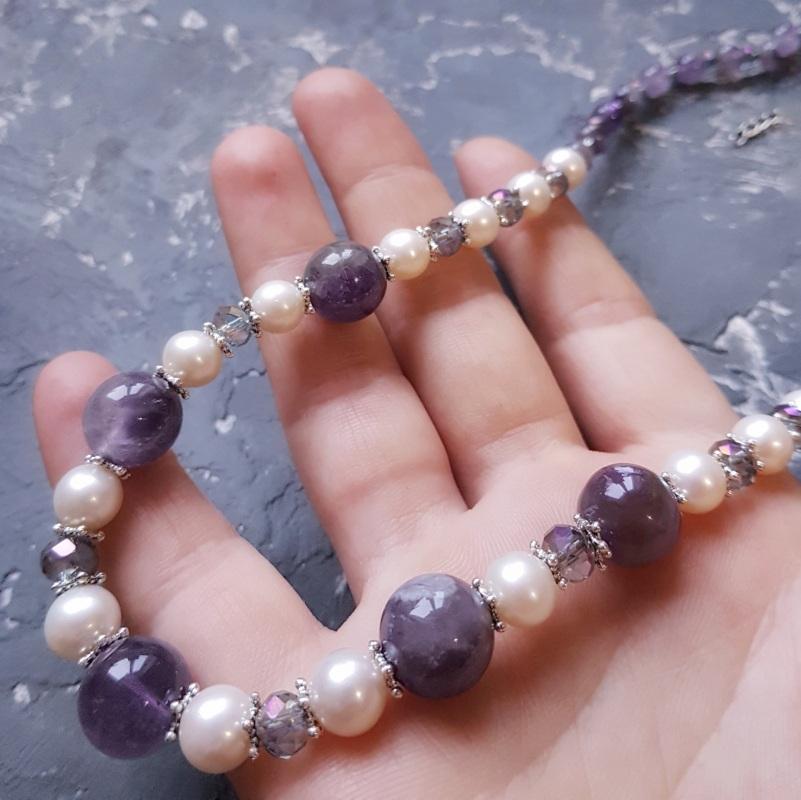 Намисто з натуральних перлів та аметисту  Фіолетовий Натуральні перли, натурал Гармаш Олена - фото 2