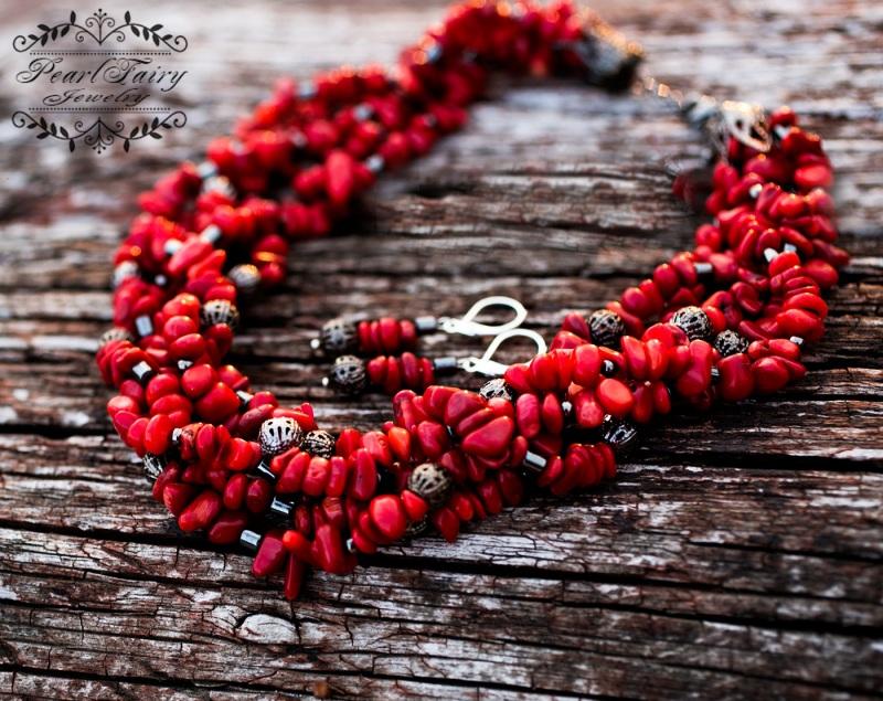 Комплект: натуральные кораллы пятирядные ожерелье и серьги Красный натуральные кораллы, мета Гармаш Елена - фото 5