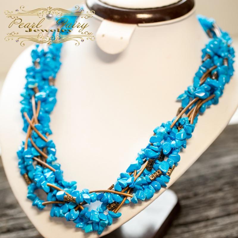 Ожерелье из бирюзы семирядне пышное Голубой Бирюза синтетическая, мет Гармаш Елена - фото 3