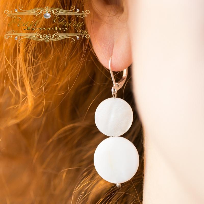 Серебряные серьги Снеговички из натурального перламутра Белый Натуральный белый перламу Гармаш Елена - фото 3