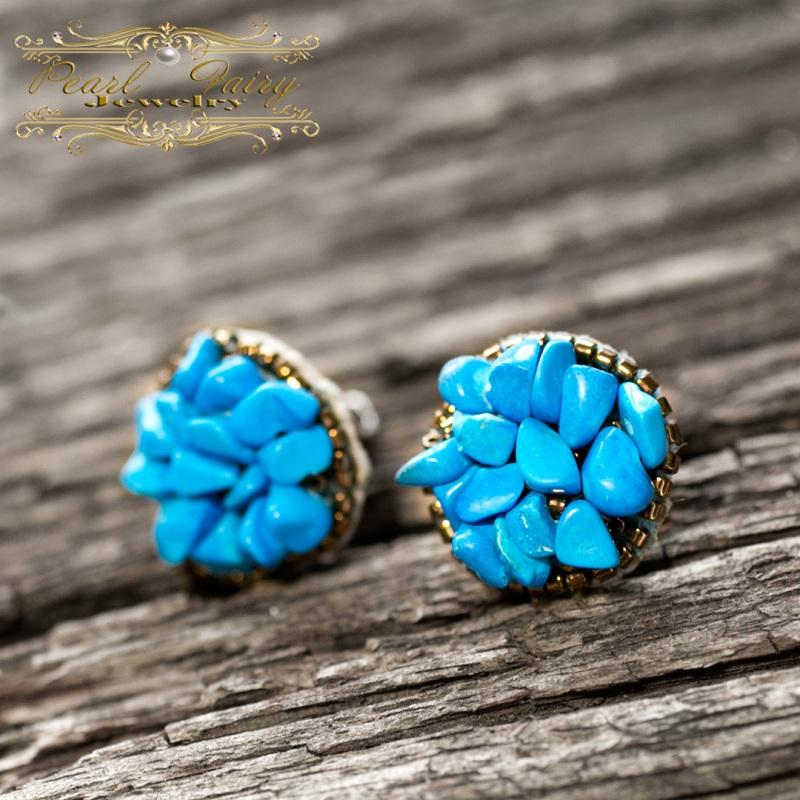 Серьги расшитые камнями, с серебряными застежками Голубой Серьги, расшитые камнями Гармаш Елена - фото 3