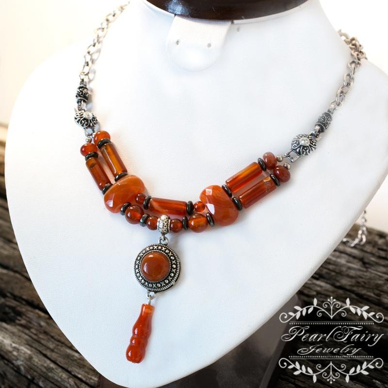 Долгое стильное колье натуральный сердолик Красный натуральный сердолик, мет Гармаш Елена - фото 3