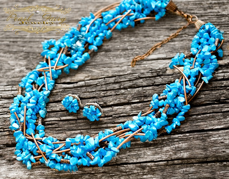 Ожерелье из бирюзы семирядне пышное Голубой Бирюза синтетическая, мет Гармаш Елена - фото 4