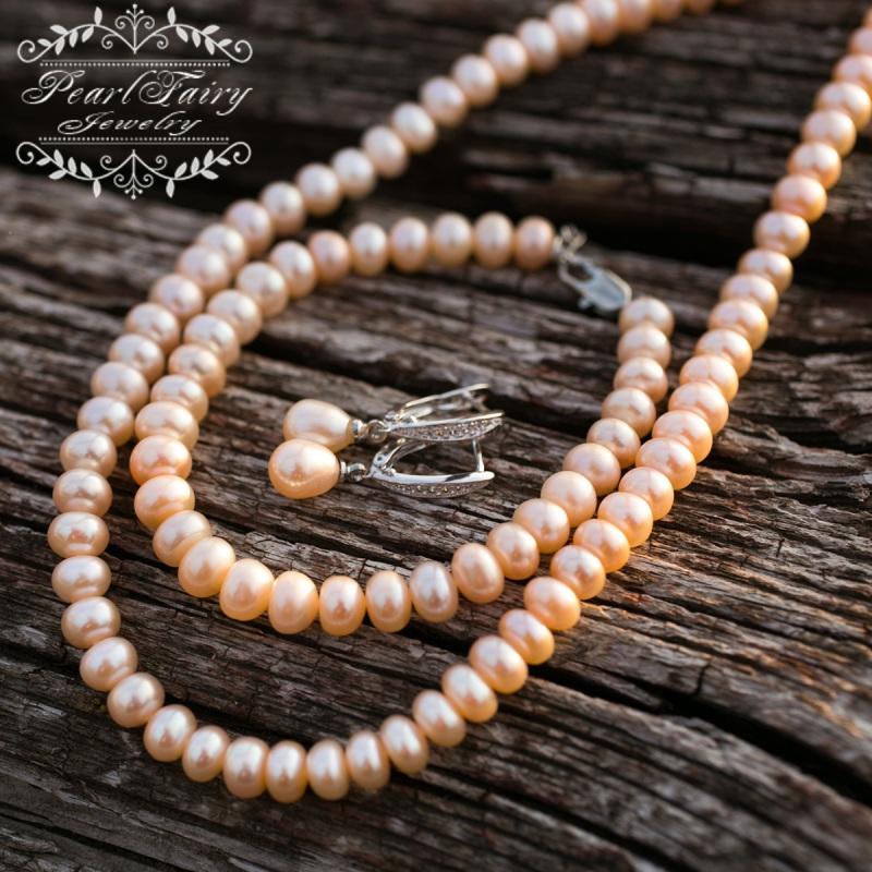 Комплект из натуральных персиковых жемчуга высокого качества Белый натуральные персиковые же Гармаш Елена - фото 3