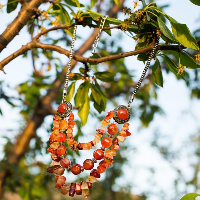 Колье из натурального сердолика Персик Красный натуральный сердолик, мет Гармаш Елена - фото 3