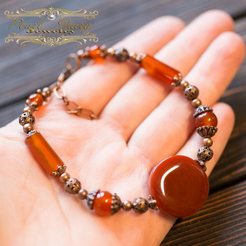Комплект из натурального сердолика браслет и серьги Красный натуральный сердолик (кар Гармаш Елена - фото 3