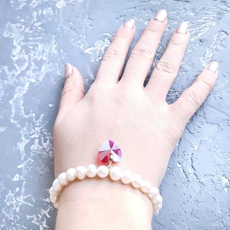 Натуральный жемчуг и кристаллы Сваровски браслет и серьги Белый жемчуг натуральный высоко Гармаш Елена - фото 8