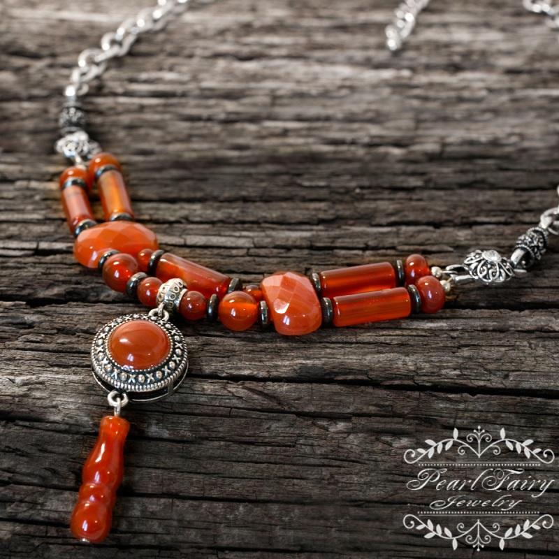 Долгое стильное колье натуральный сердолик Красный натуральный сердолик, мет Гармаш Елена - фото 1