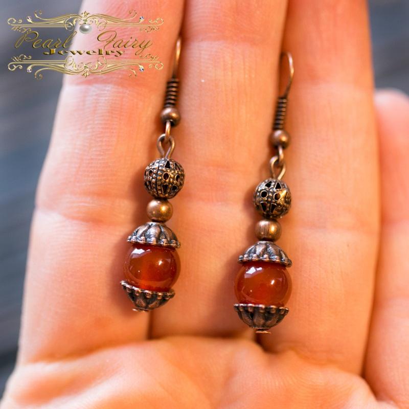 Комплект из натурального сердолика браслет и серьги Красный натуральный сердолик (кар Гармаш Елена - фото 4