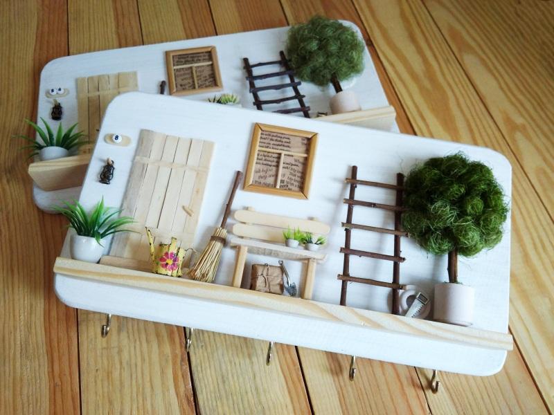 """Ключница (вешалка) в стиле прованс """"Manoir en Provence""""  деревянная основа, акрило Герасименко Юлия - фото 4"""