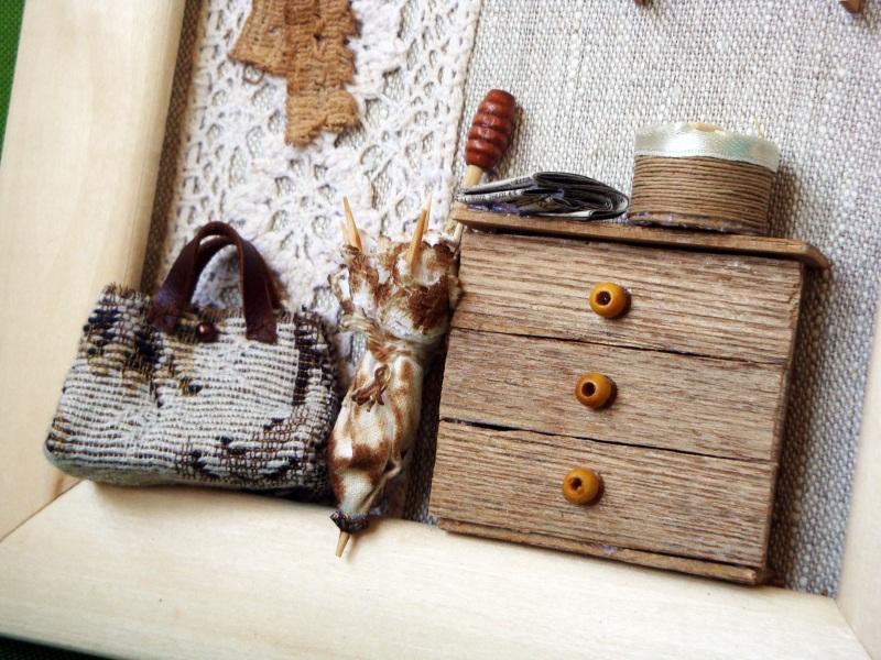 """Панно-миниатюра в виде ключницы """"Прихожая""""  деревянная рама, ДВП, льн Герасименко Юлия - фото 9"""