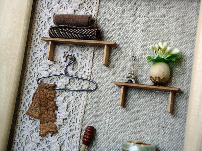 """Панно-миниатюра в виде ключницы """"Прихожая""""  деревянная рама, ДВП, льн Герасименко Юлия - фото 10"""