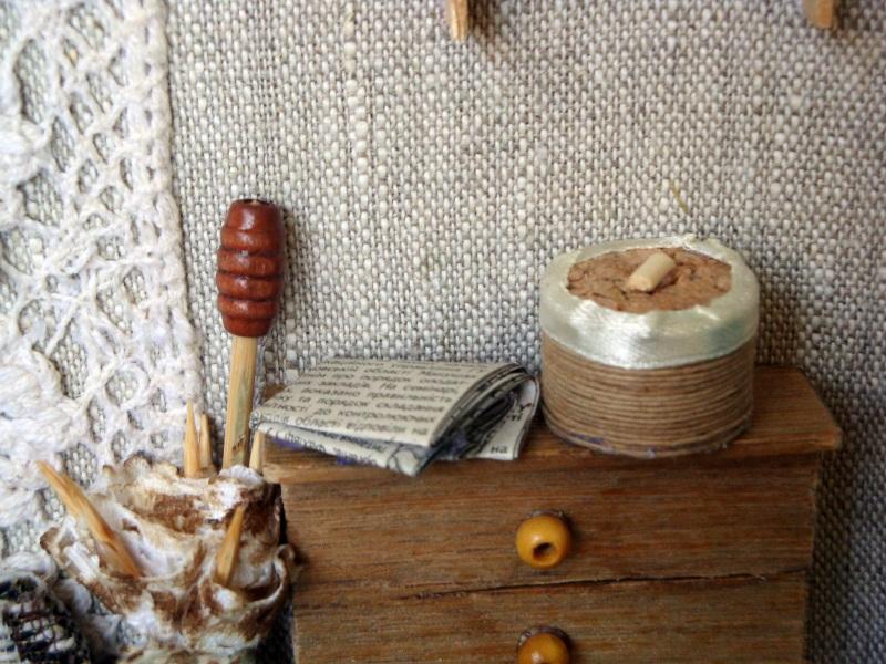 """Панно-миниатюра в виде ключницы """"Прихожая""""  деревянная рама, ДВП, льн Герасименко Юлия - фото 8"""