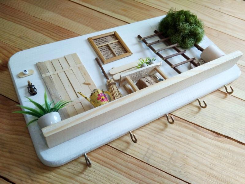 """Ключница (вешалка) в стиле прованс """"Manoir en Provence""""  деревянная основа, акрило Герасименко Юлия - фото 6"""