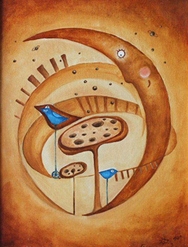 Космическое  полотно на двп, маслянные Герчанивская Ирина - фото 1