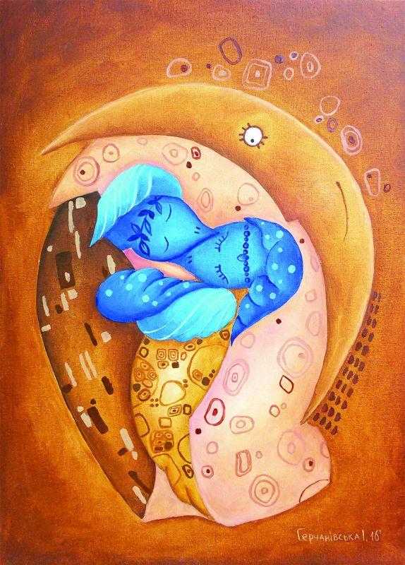 Поцелуй по Климту  полотно на двп, масляные Герчанивская Ирина - фото 1