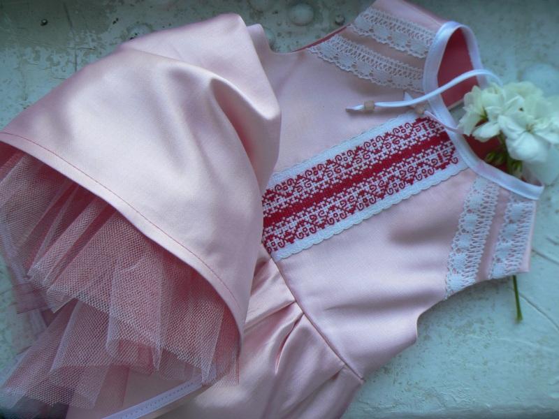 Платье 0-12 мес Розовый Хлопок / шерсть / атлас / Горича Татьяна - фото 1