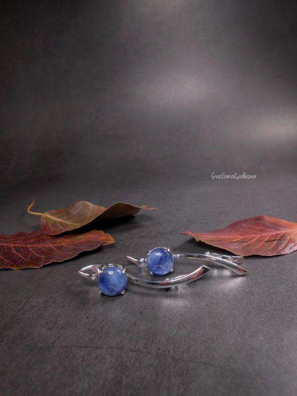 Срібні сережки з кіанітом Синеглазка  срібло 925 пр, натуральни Гудкова Світлана - фото 4