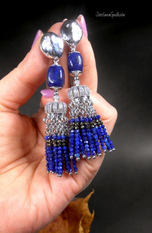 Серьги Индиго из афганского лазурита и пирита. Синий Афганский лазурит, пирит, Гудкова Светлана - фото 3