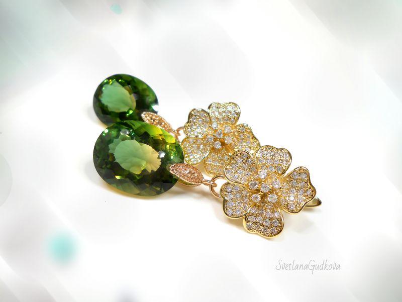 Серьги с аметрином Мелодия Зеленый двухцветный аметрин (лаб. Гудкова Светлана - фото 1