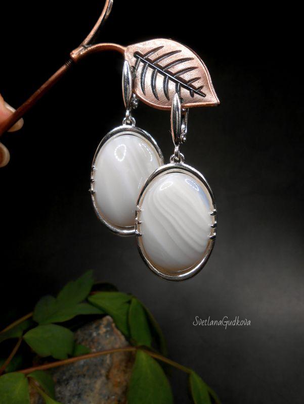 Серебряные серьги с молочным агатом Белый Агат молочный, серебро 92 Гудкова Светлана - фото 2