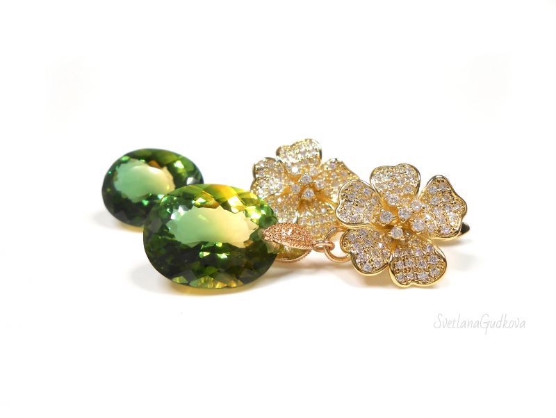 Серьги с аметрином Мелодия Зеленый двухцветный аметрин (лаб. Гудкова Светлана - фото 3