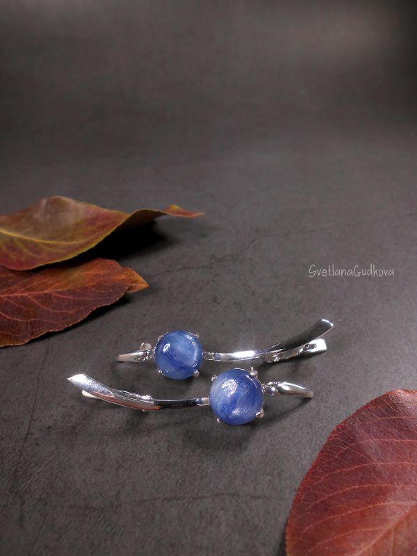 Срібні сережки з кіанітом Синеглазка  срібло 925 пр, натуральни Гудкова Світлана - фото 1