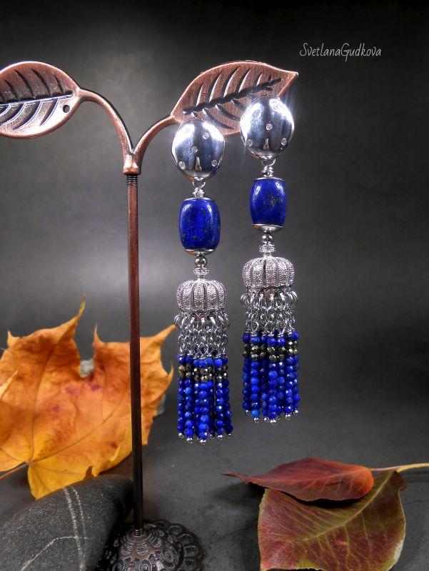 Серьги Индиго из афганского лазурита и пирита. Синий Афганский лазурит, пирит, Гудкова Светлана - фото 1