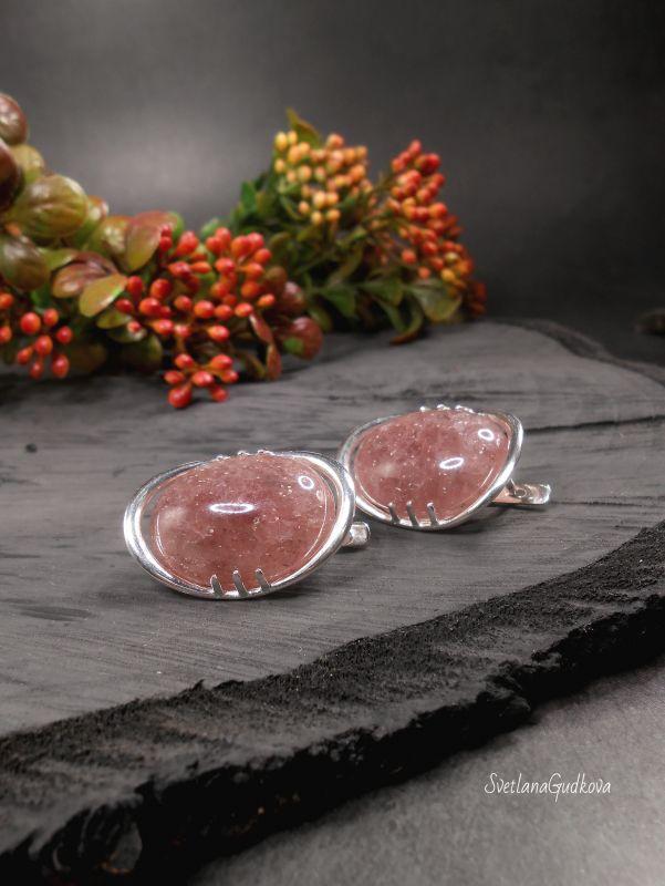 Серебряные серьги Клубничный мармелад. Розовый клубничный кварц, серебро Гудкова Светлана - фото 4