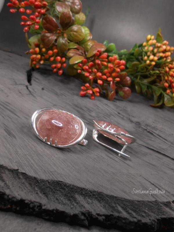 Серебряные серьги Клубничный мармелад. Розовый клубничный кварц, серебро Гудкова Светлана - фото 3