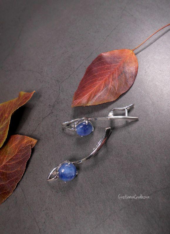 Срібні сережки з кіанітом Синеглазка  срібло 925 пр, натуральни Гудкова Світлана - фото 5
