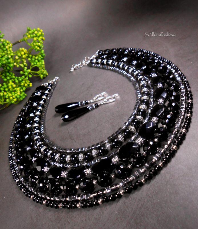 Комплект Черная Королева Черный Черный агат, стального цв Гудкова Светлана - фото 1