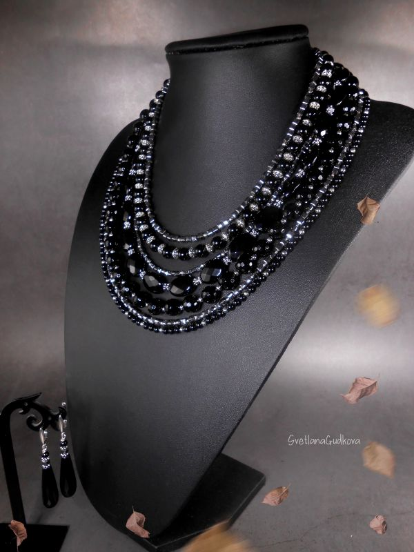 Комплект Черная Королева Черный Черный агат, стального цв Гудкова Светлана - фото 5