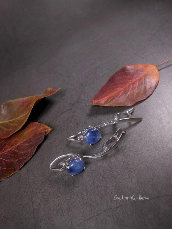 Срібні сережки з кіанітом Синеглазка  срібло 925 пр, натуральни Гудкова Світлана - фото 3