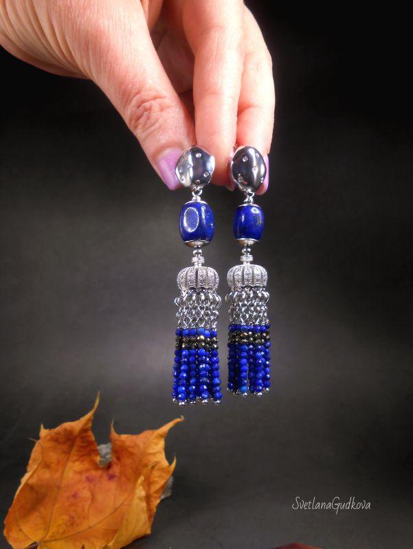 Серьги Индиго из афганского лазурита и пирита. Синий Афганский лазурит, пирит, Гудкова Светлана - фото 4