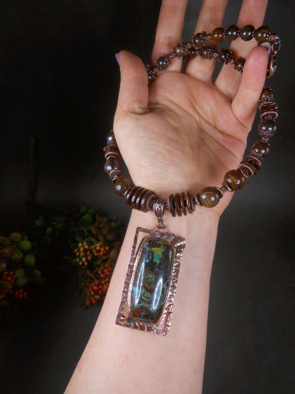 Комплект Каштановый с заринитом и бронзитом.  натуральный заринит, брон Гудкова Светлана - фото 3