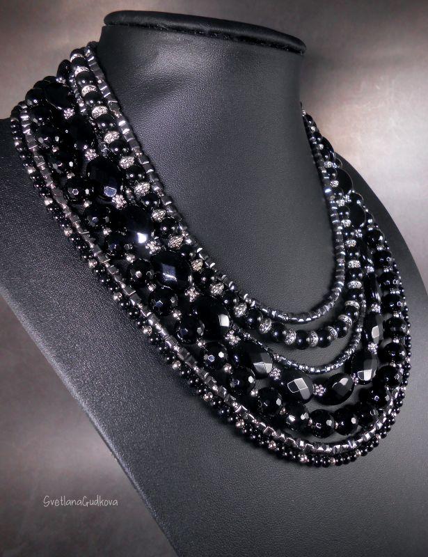 Комплект Черная Королева Черный Черный агат, стального цв Гудкова Светлана - фото 2