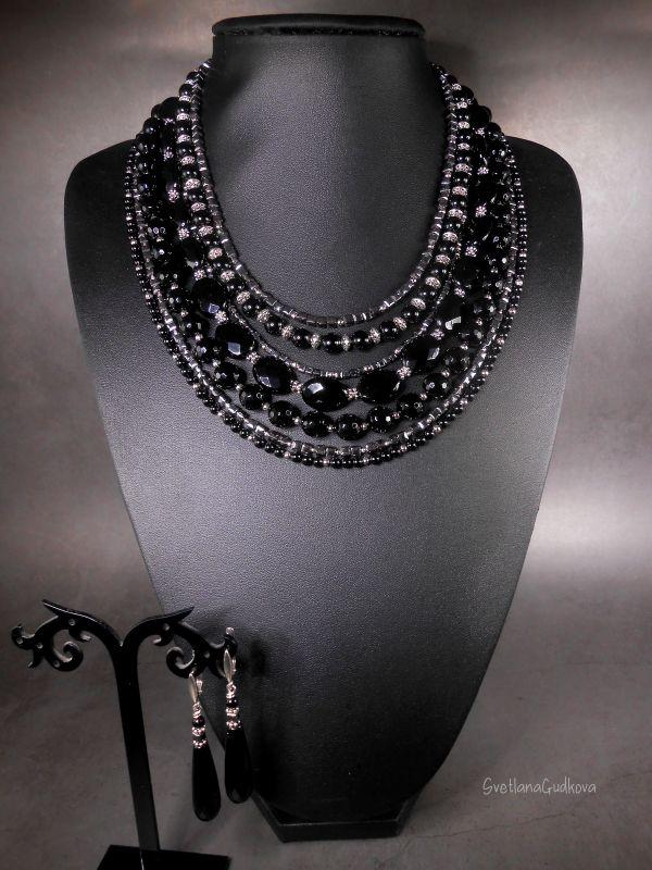 Комплект Черная Королева Черный Черный агат, стального цв Гудкова Светлана - фото 6