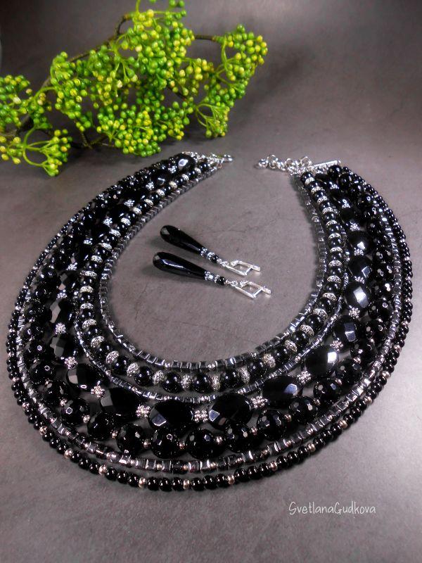 Комплект Черная Королева Черный Черный агат, стального цв Гудкова Светлана - фото 4
