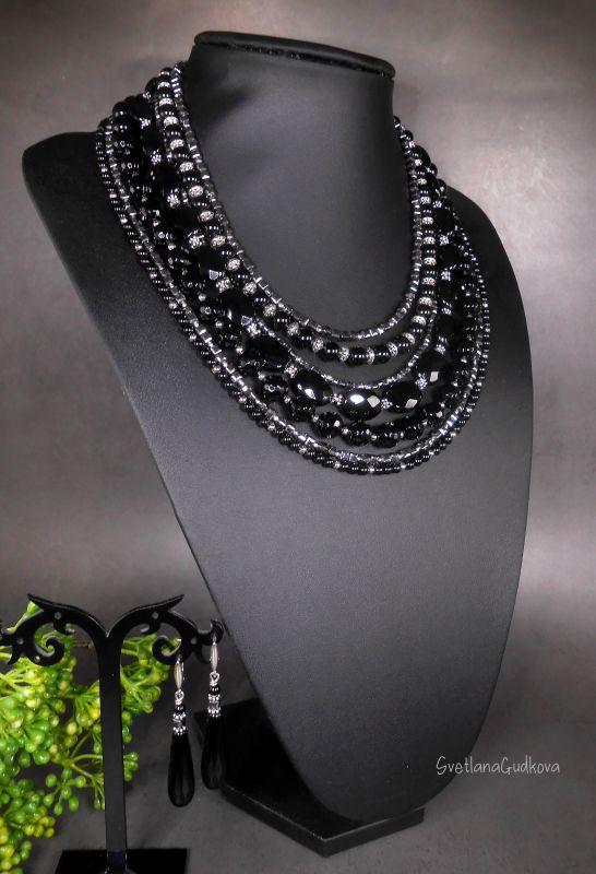 Комплект Черная Королева Черный Черный агат, стального цв Гудкова Светлана - фото 7