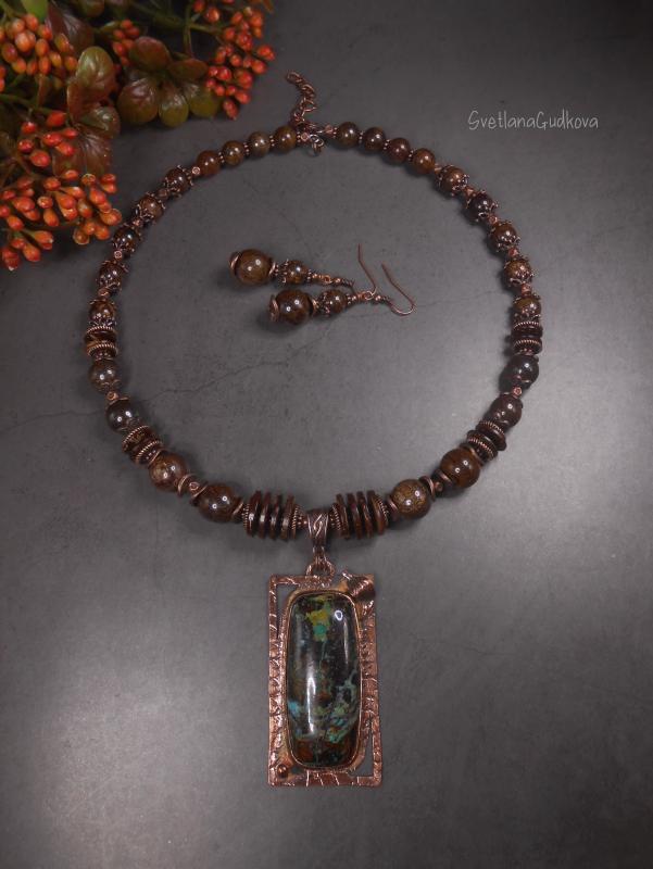 Комплект Каштановый с заринитом и бронзитом.  натуральный заринит, брон Гудкова Светлана - фото 1