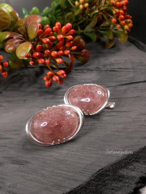 Серебряные серьги Клубничный мармелад. Розовый клубничный кварц, серебро Гудкова Светлана - фото 1