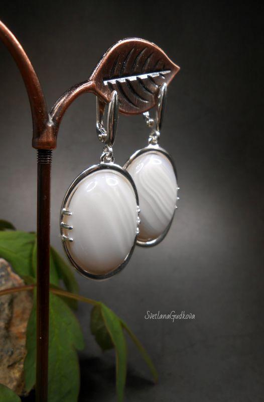 Серебряные серьги с молочным агатом Белый Агат молочный, серебро 92 Гудкова Светлана - фото 3